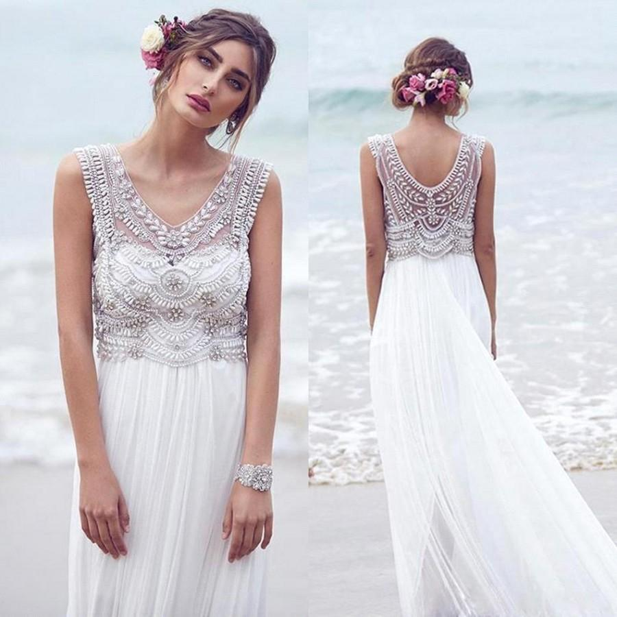 2016 New Arrival Lace Wedding Crystals Beads Chiffon Sweep Train Maxi Y V Neck Luxury Summer Beach Gowns Bo8632 Online With 124 09 Piece