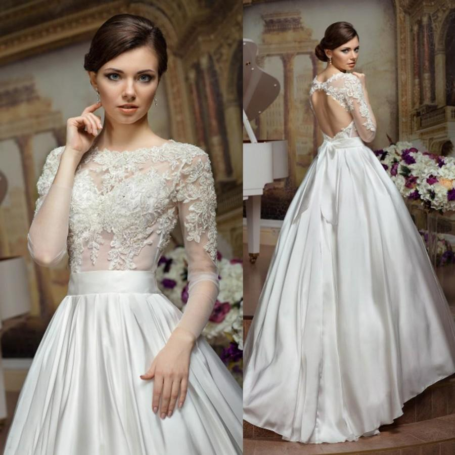 Wedding - Chinese Backless 2016 Long Sleeve Wedding Gowns Appliques Taffeta White Ivory Bridal Dresses Bow A Line Vestidos De Novia W4179 Online with $129.59/Piece on Hjklp88's Store