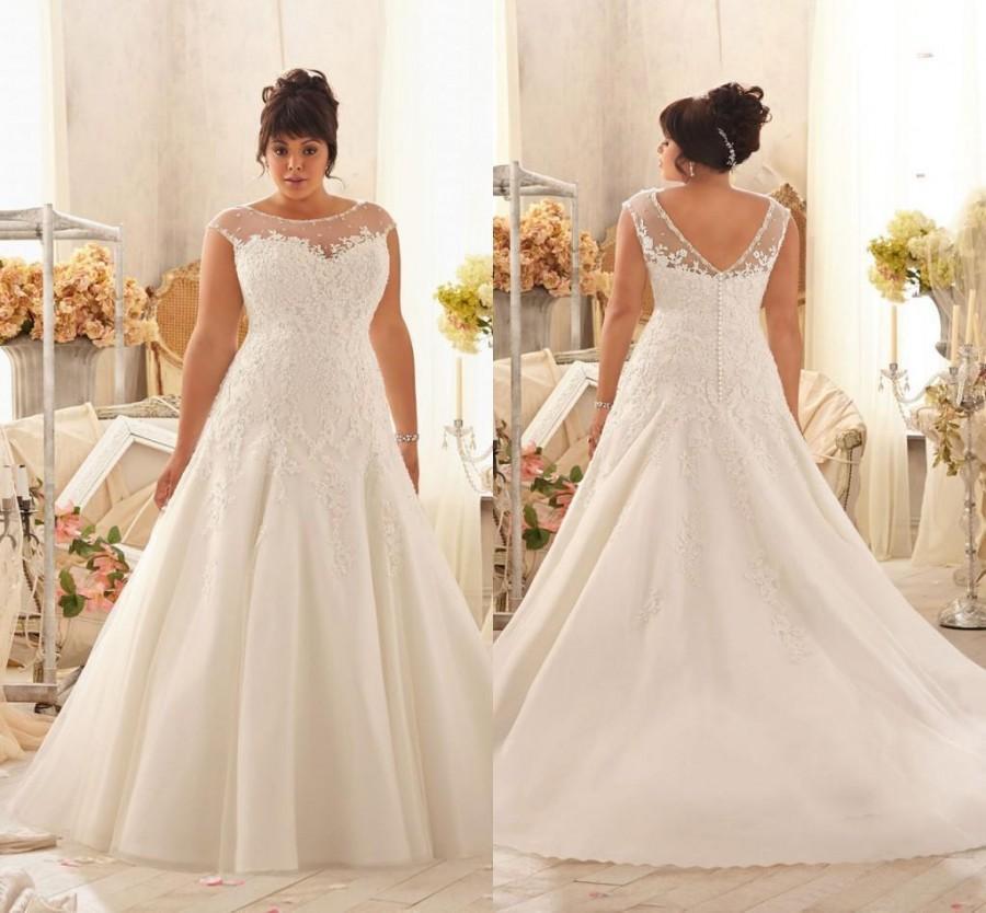 2016 plus size wedding dresses lace a line jewel backless for A line plus size wedding dresses