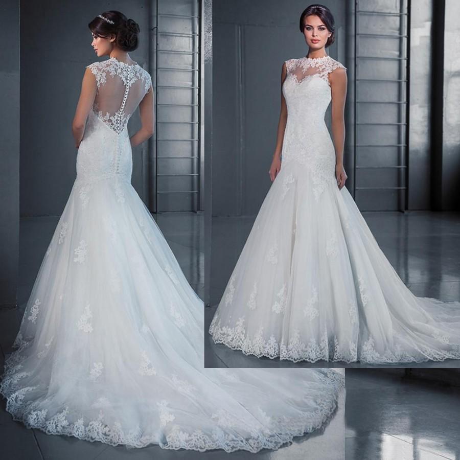 2016 Arabic Fall Mermaid Wedding Dresses Court Train Appliques Sheer ...