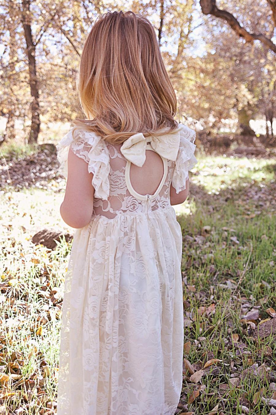زفاف - Ivory Lace Flower Girl Dress - Ivory Lace Sweetheart Neckline Flower Girl Dress - Rustic Flower Girl Dress- Girls Dress - Baby Dress - Frock