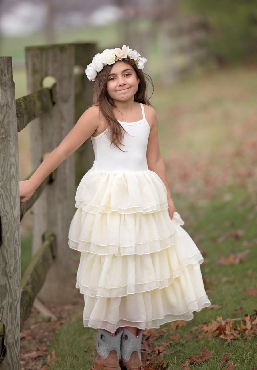 eb8ecd3da90c9 ivory lace flower girl dress, ivory ruffle frock, girls lace dress, baby girls  dress, lace flower girl dress, rustic flower girl dress frock
