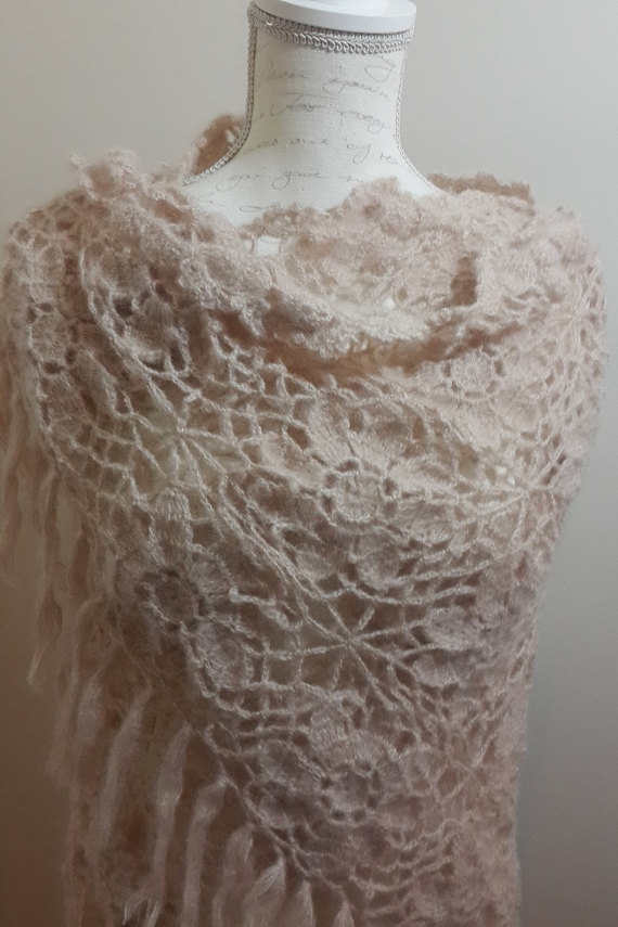Crochet Lace Wedding Shawl Pattern : Wedding Shawl, Bridal Shawl, Beige Wedding Crochet Shawl ...