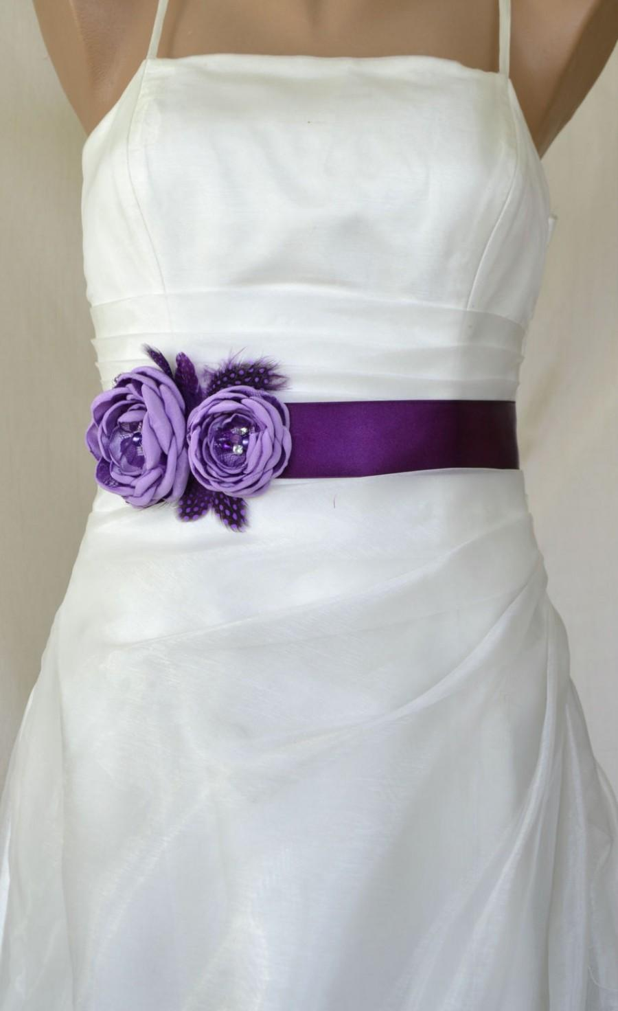 Mariage - Handcraft Lavender and Purple Two Flowers With Feathers Wedding Bridal Sash Belt