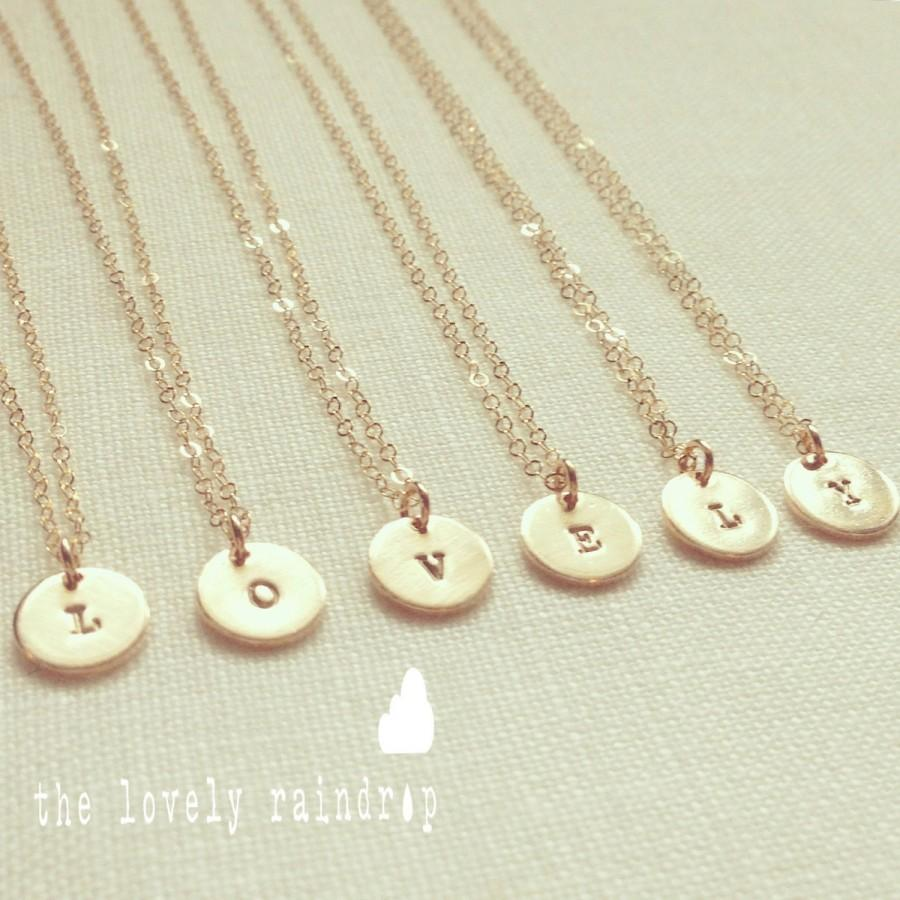 SALE - Tiny Customized Initial 9mm Disc Necklace In Gold - Little ...