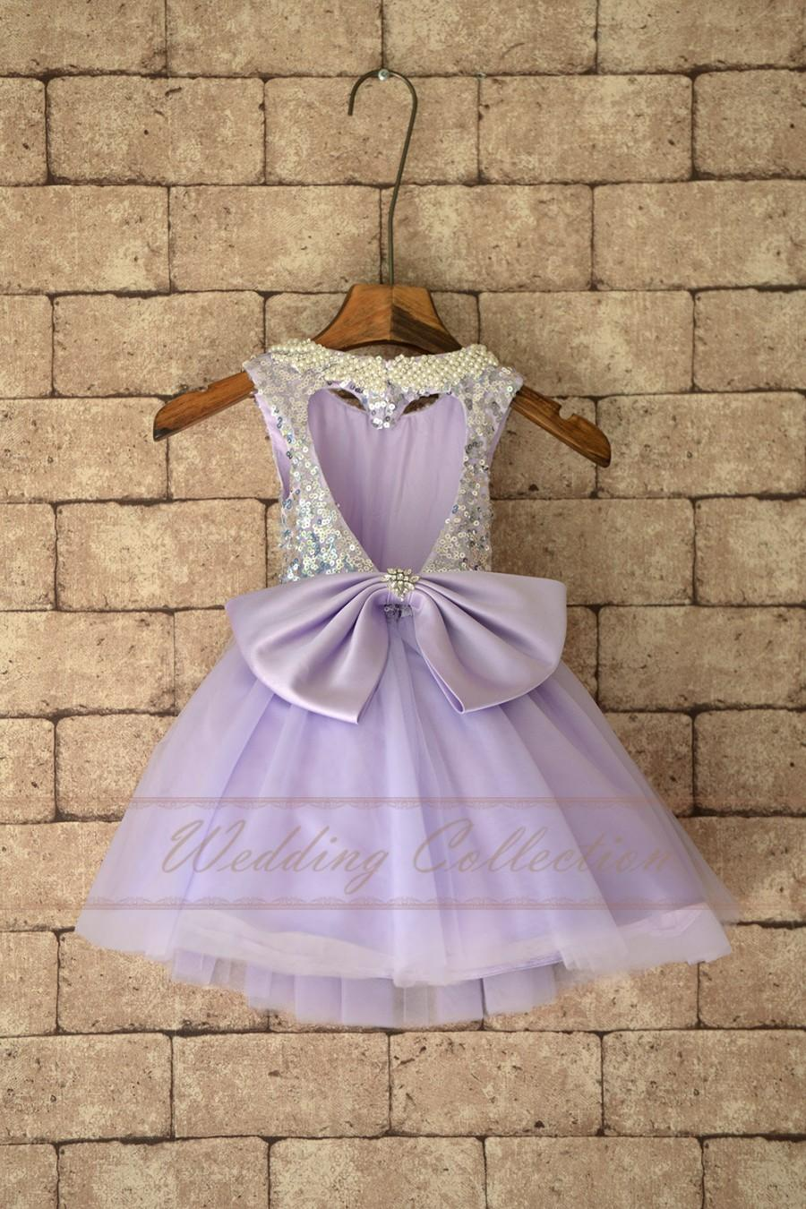 fcb964cd6 Tulle Flower Girls Dress With Sequin Top, Purple Color Birthday Party Dress  with Pearl Neckline