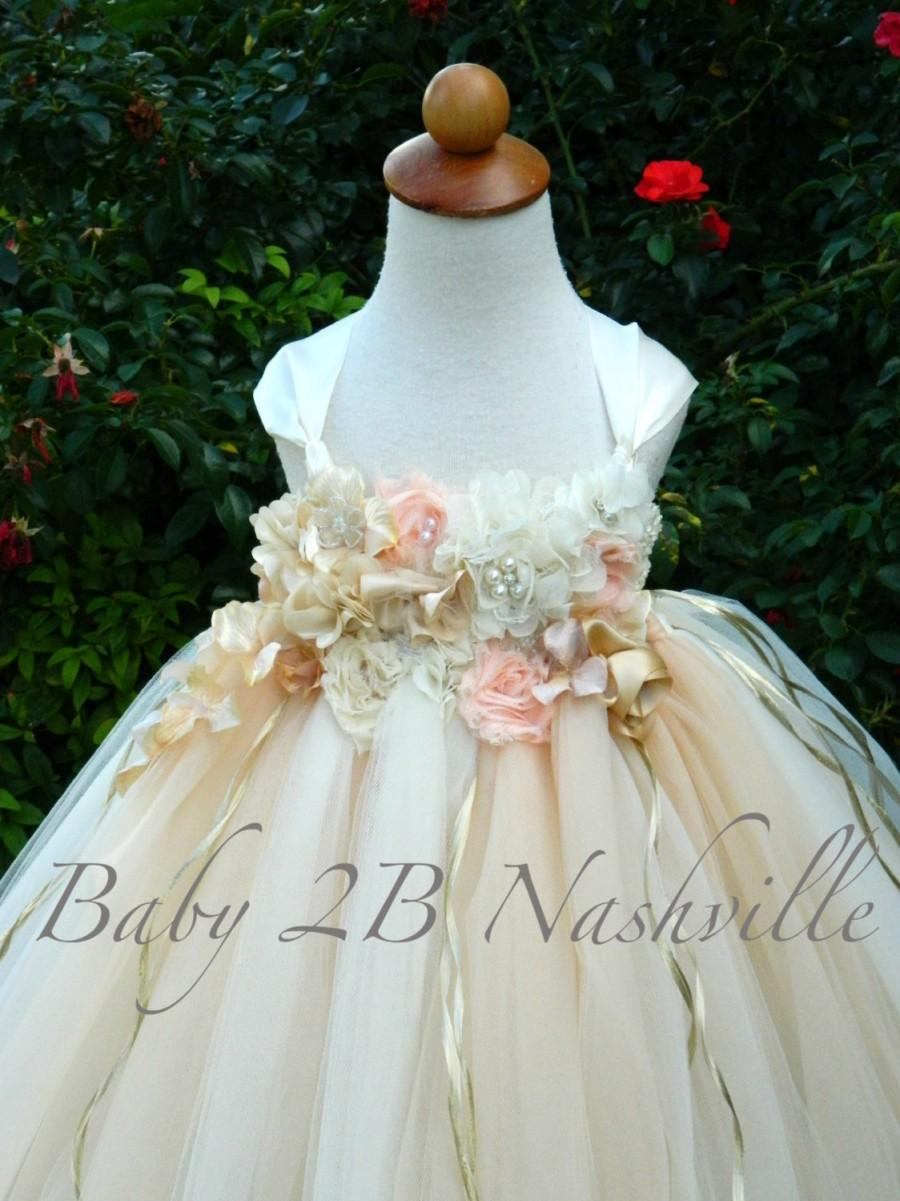 Champagne And Ivory Flower Girl Tutu Dress Wedding Flower Girl Tulle