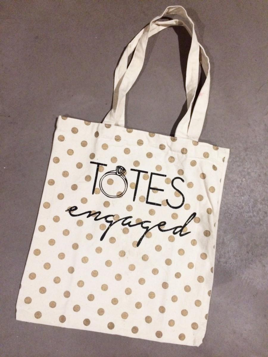 Свадьба - Totes Engaged Gold Dotted Canvas Tote Bag