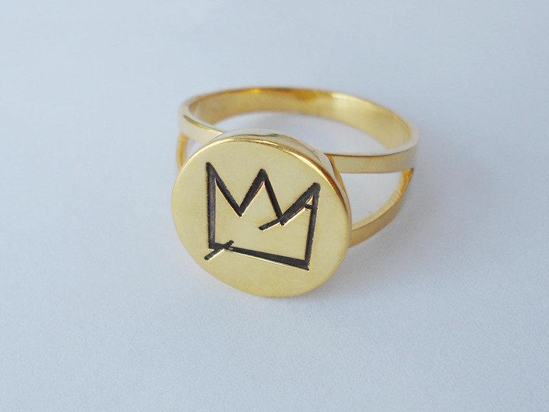 Mariage - Jean-Michel Basquiat's Crown Ring,Personalized Crown Ring,Engraved Crown Ring,Special Gift