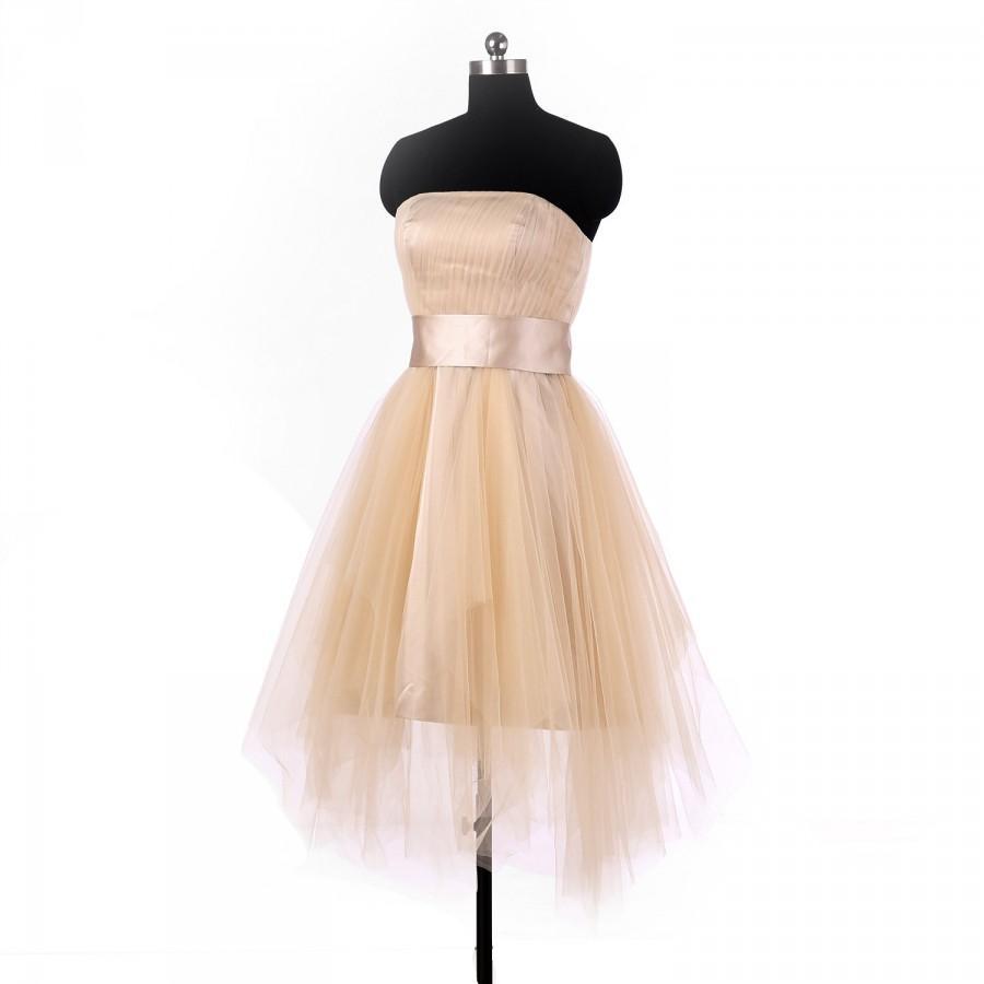 Short champagne bridesmaid dresses homecoming dress for Short champagne wedding dress
