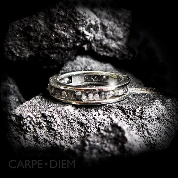 Mariage - Raw Diamond Ring Uncut 14k White Gold Engagement Rings Wedding Band