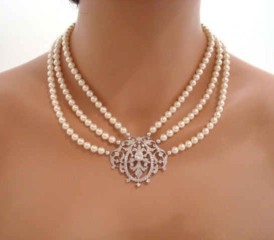 Mariage - Victorian style necklace, bridal necklace, pearl necklace, cubic zirconia necklace, vintage style necklace