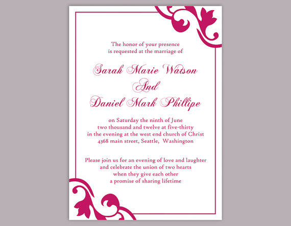 Wedding - DIY Wedding Invitation Template Editable Word File Instant Download Printable Invitation Mauve Wedding Invitation Hot Pink Invitation