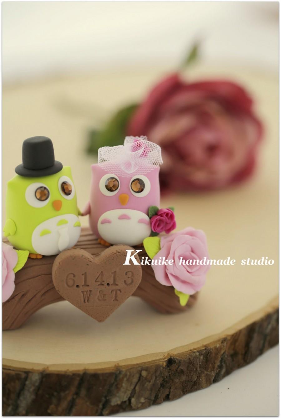 Mariage - Owls wedding cake topper with bridge (K501)