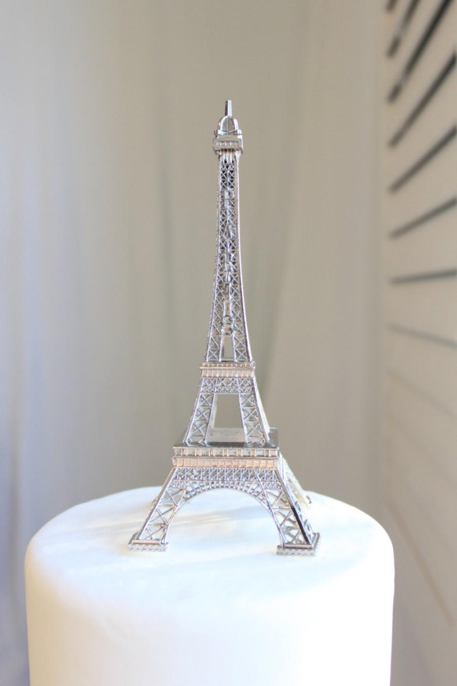 Mariage - Silver Paris Eiffel Tower Cake Topper