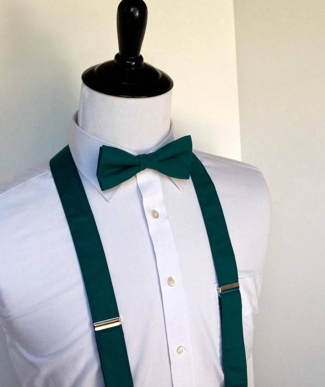 Hochzeit - Dark Teal Bowtie and Suspenders Set - Men, Teen, Youth                                   2 weeks before shipping