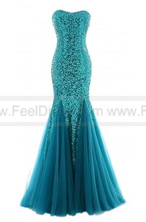 Mariage - Strapless Mermaid Sweetheart Long Sequins Ruching Tulle Prom Evening Dress