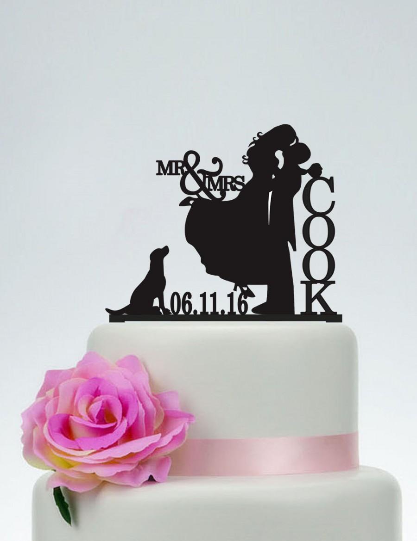 Wedding - Mr & Mrs Cake Topper,Bride And Groom Silhouette,Wedding Cake Topper,Personalized Cake Topper,Date Cake Topper,Dog Cake Topper, Couple- C111