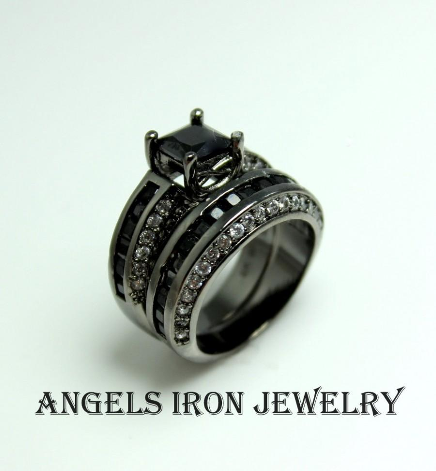 Mariage - Black Gold Ring Women Set Wedding Engagement Anniversary Promise Rings Unique Gothic Steampunk Jewelry Women Gift for her