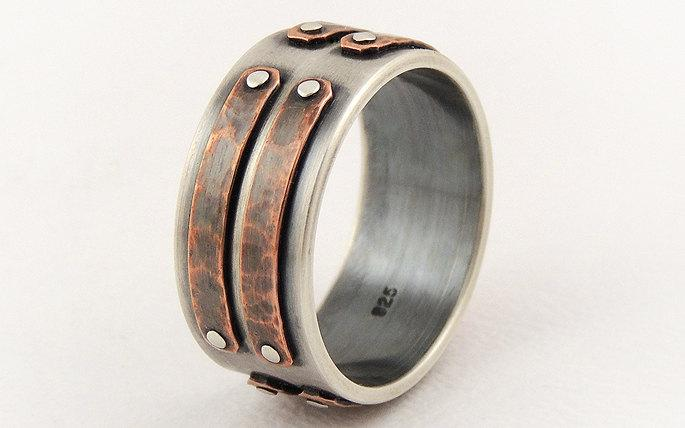 Hochzeit - Silver copper men's ring - mens wedding band,engagement ring,unique mens ring,rustic ring