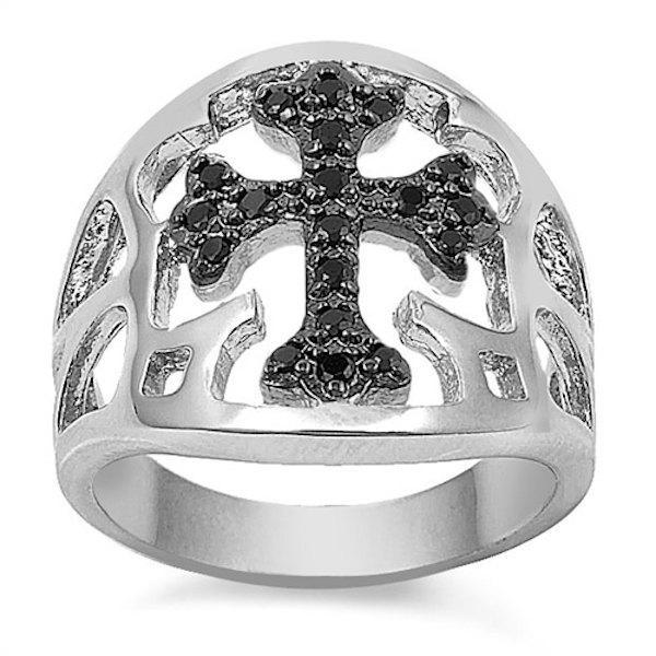 Hochzeit - Men's Biker Cross Ring Solid 925 Sterling Silver Round Jet Black Diamond CZ Open Cut Solid Cross Ring Religious Gift Men Women Unisex Cross