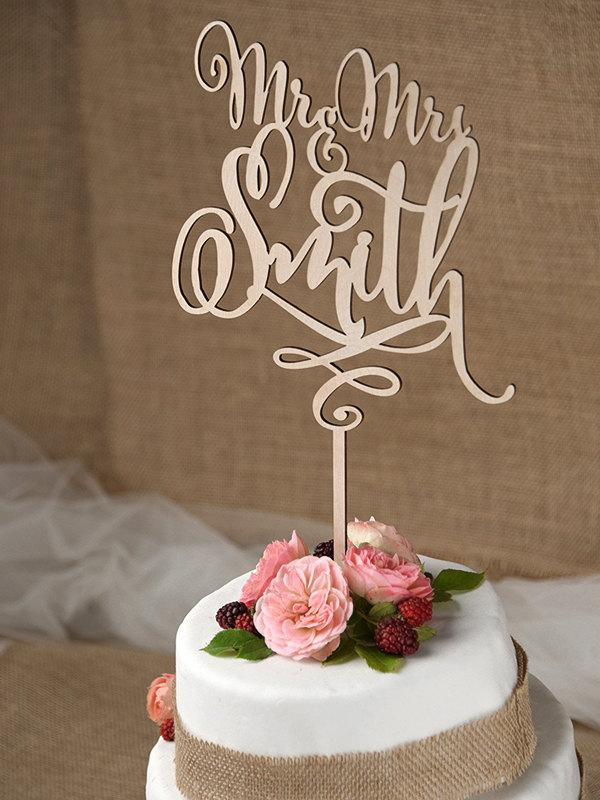 Rustic Cake Topper, Wedding Custom Cake Topper, Wood Cake Topper, Mr ...