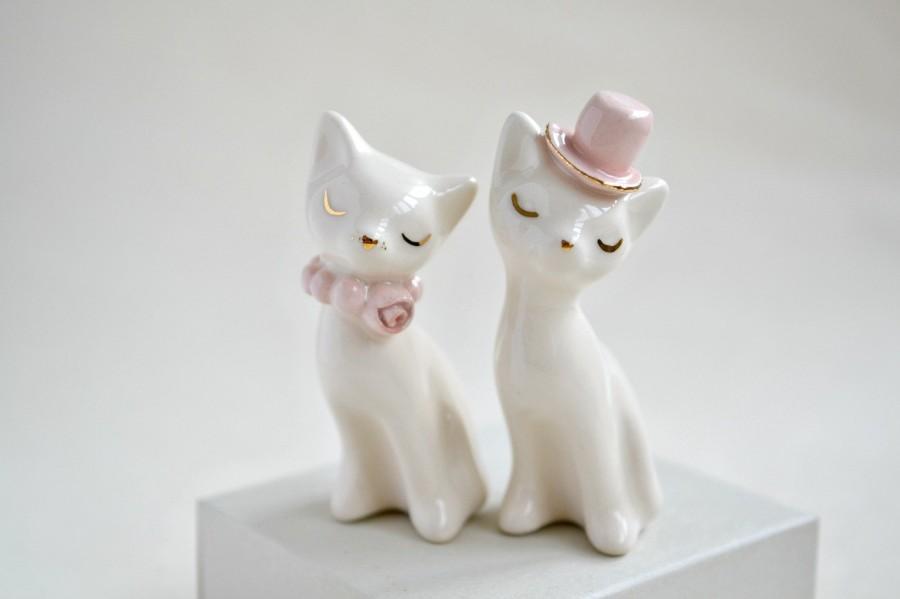 Wedding - Cat cake topper, wedding cake topper, pink gold ivory - ceramic cat cake topper wedding, bride and groom cats - wedding keepsake
