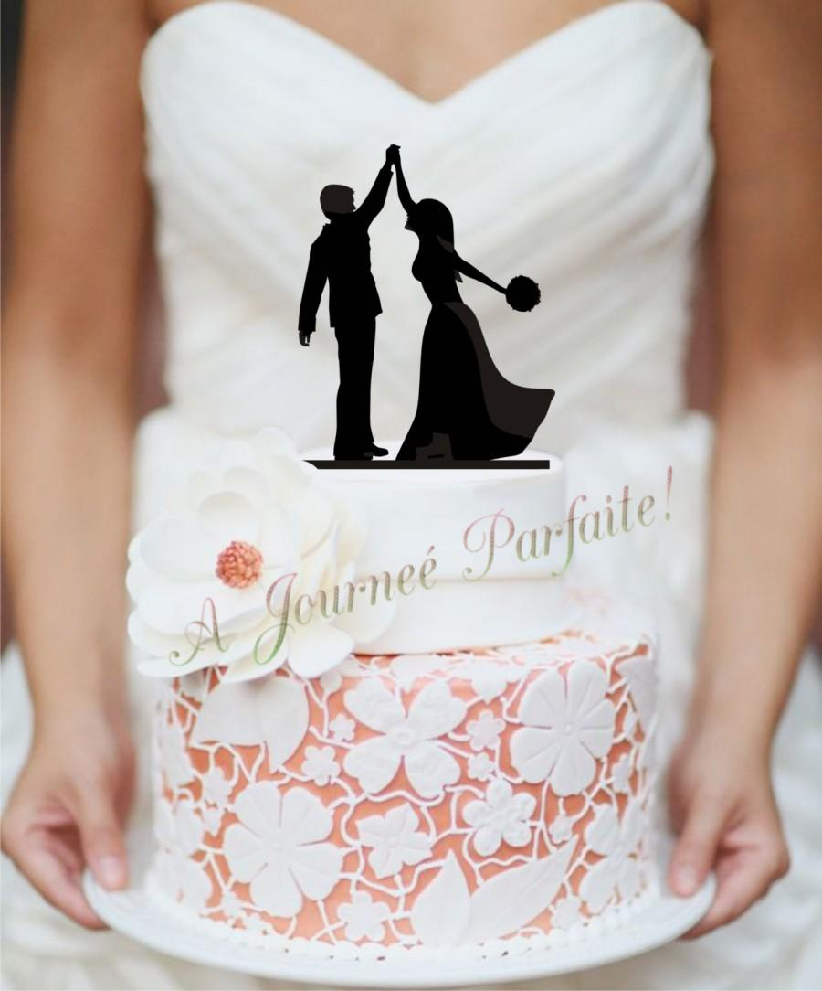 Wedding Cake Topper With Silhouette Couple Giving The High Five ...