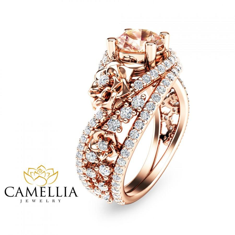 Unique Rose Gold Morganite Engagement Ring 14K Rose Gold ...