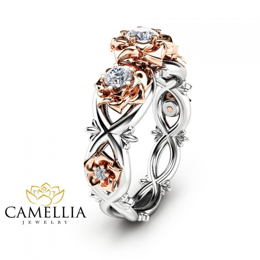 Свадьба - Three Stone Natural Diamonds Engagement Ring Nature Inspired Ring in 14K Two Tone Gold Unique Floral Ring