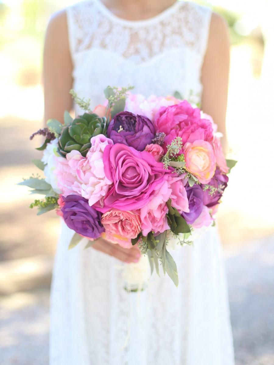 Mariage - Silk Bride Bouquet Purple Lavender Pink Roses Peonies Wildflowers Succulents Natural Bouquet Shabby Chic Vintage Inspired Rustic Wedding