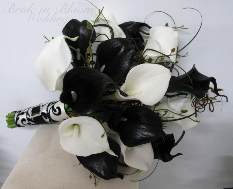 Wedding bouquet real touch black white calla lily bridal bouquet wedding bouquet real touch black white calla lily bridal bouquet damask wedding flowers mightylinksfo