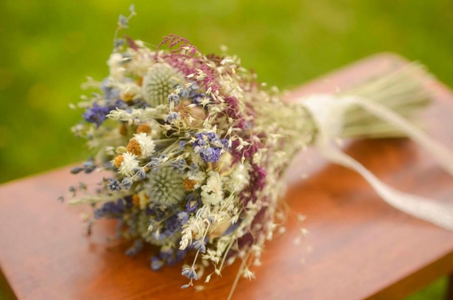 Wedding - Purple wildflower bouquet, purple bridesmiad bouquet, purple and blue, dried flower bouquet, purple wedding, summer wedding