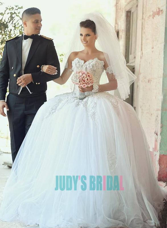 Sweetheart Neck Said Mhamad Full Tulle Ball Gown Princess Wedding ...