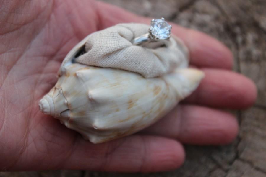 Nautical Engagement Ring Box Beach Proposal Sea Shell Organic