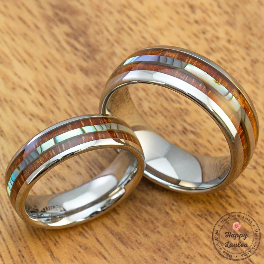 Mariage - Tungsten Wedding Band Set with Abalone Pau'a Shell over Hawaiian Koa Wood Inlay (6 & 8mm Width, Barrel Style, Comfort Fit)