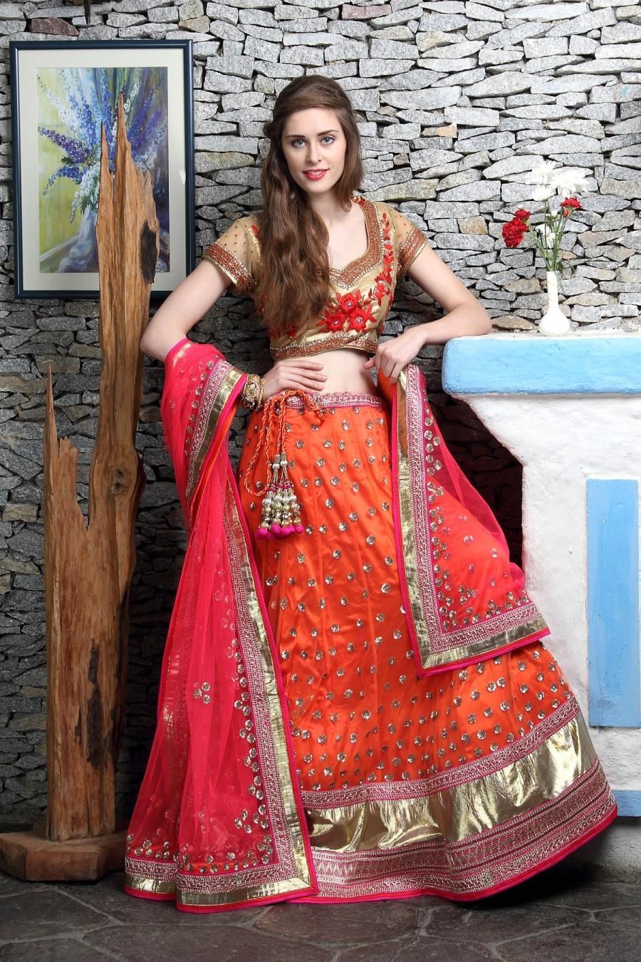 Hochzeit - Neon Orange & Rani Pink Lehenga with sequins work