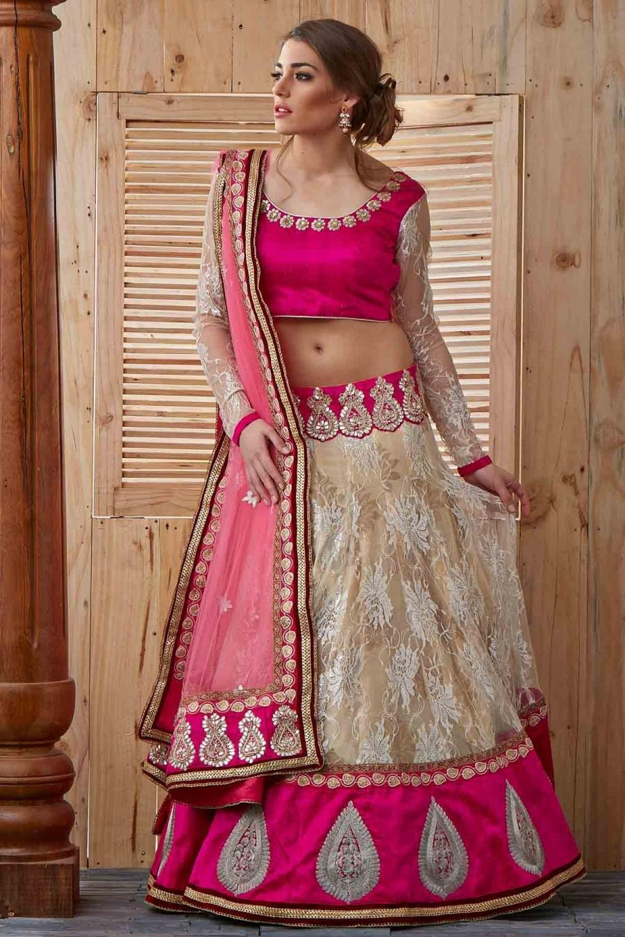 Wedding - Pink Shantali Net Bridal Lehenga with Gota Work