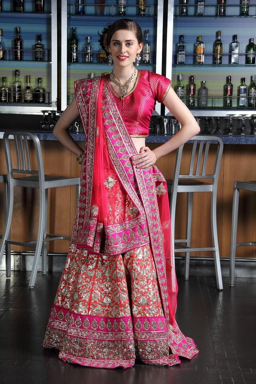 3da90f3ff8 Ethnic Pink & Deep Orange Lehenga With Pita Work #2440285 - Weddbook