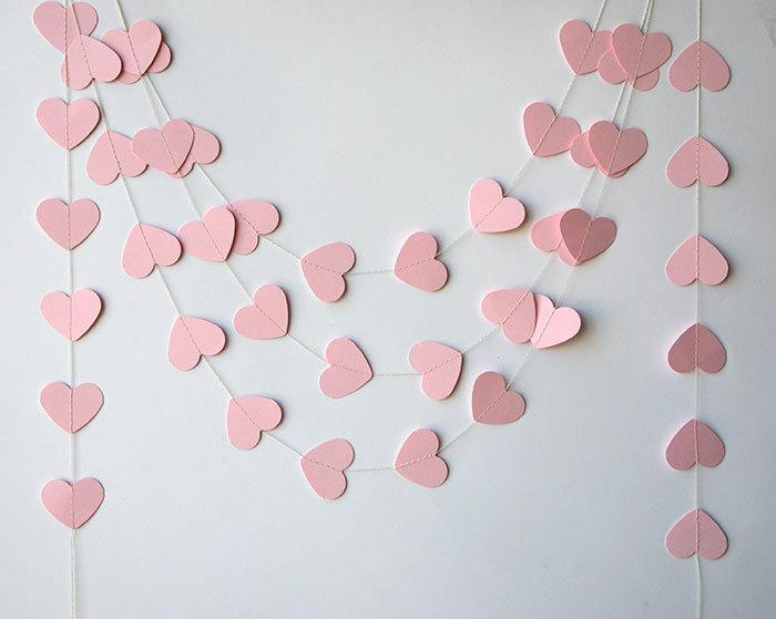 Mariage - Wedding garland, Wedding decorations, Heart garland, Pink heart garland, Bridal shower decor, Paper garland, Baby shower - Bridal shower