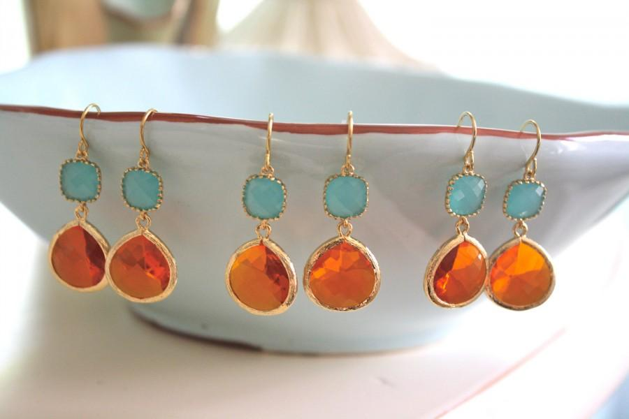 Mariage - Set of 3 Tangerine Orange & Aqua Gold Glass Earrings, Bridesmaids Jewelry, Bridesmaids Earrings, Gifts for her