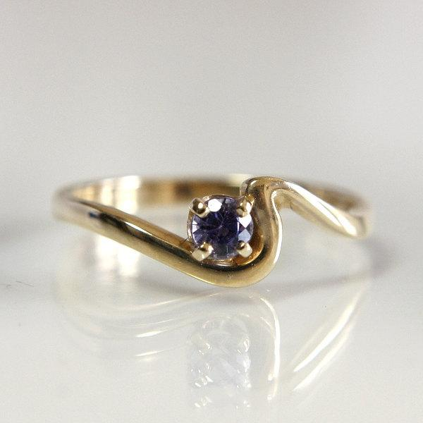 زفاف - Gemstone Engagement Ring Tanzanite 14k Yellow Gold Size 6 1/2 Natural Gemstone .20 Carats Purple Color With Wave Design Mounting