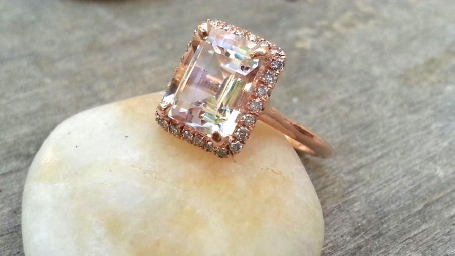 Mariage - Delicate Rose Gold Engagement Ring with Morganite Unique Rose Gold Diamond Alternative Promise Ring, Commitment Ring Halo Ring