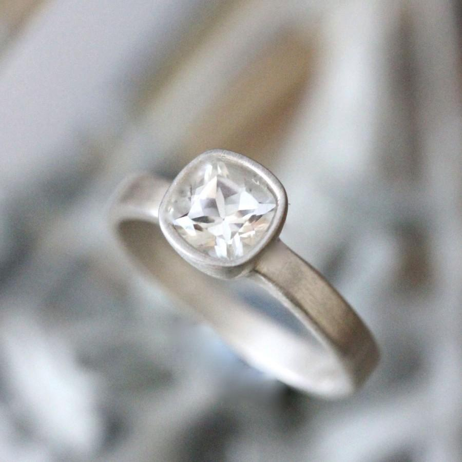 white topaz sterling silver ring gemstone ring cushion shape ring eco friendly engagement ring stacking ring made to order - Eco Friendly Wedding Rings