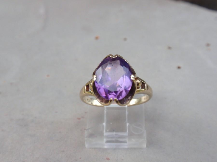 زفاف - Vintage Purple Sapphire 10k Ring yellow gold oval ladies solitaire