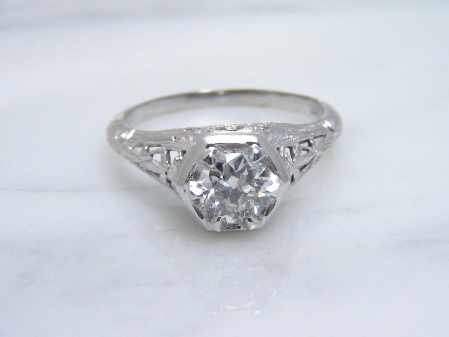 Mariage - Antique Edwardian European Cut Diamond Engagement Ring 18k White Gold/ Signed Snowdrop/ Vintage 0.60ct VS/H-I