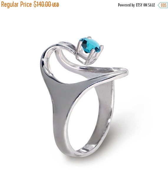 Mariage - CLEARANCE SALE 40% OFF - Iside Sterling Silver Engagement Ring, Blue Topaz Ring, Peridot Ring,  Birthstone Ring, Promise Ring, Egyptian Jewe