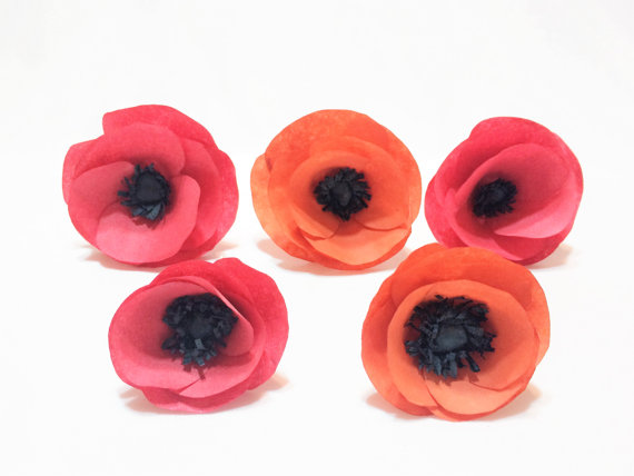 Wedding - Handmade coffee filter paper Poppies