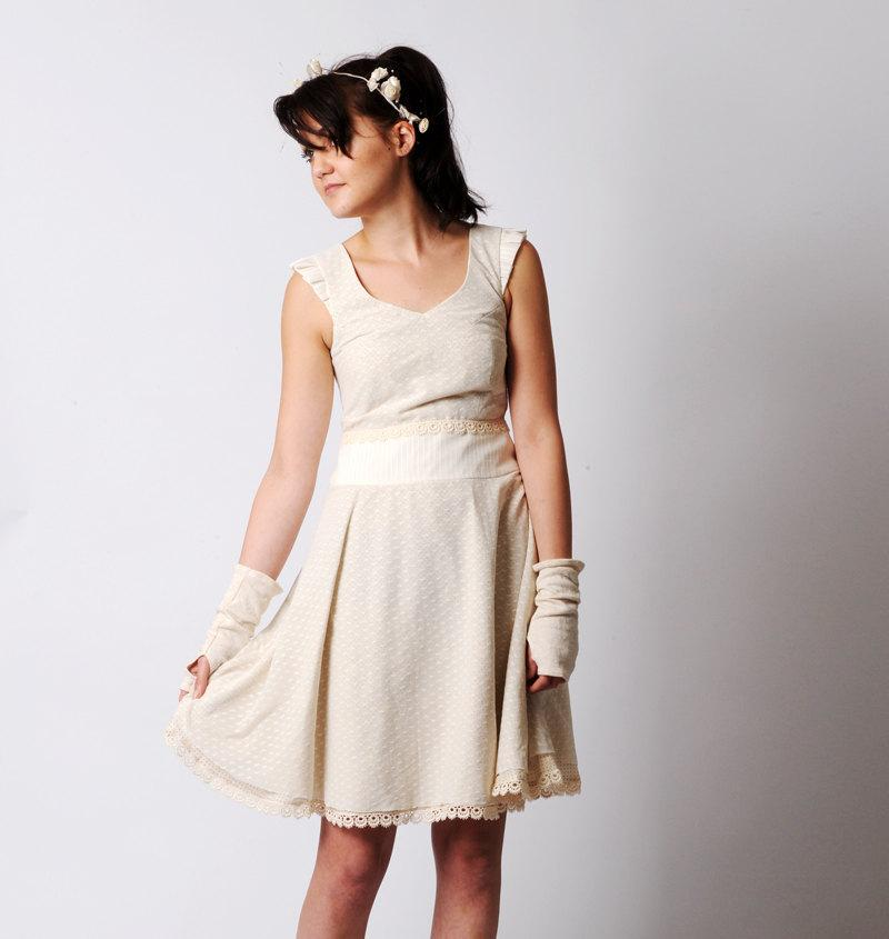 Short wedding dress cotton and heart mesh dress womens for Simple cotton wedding dress
