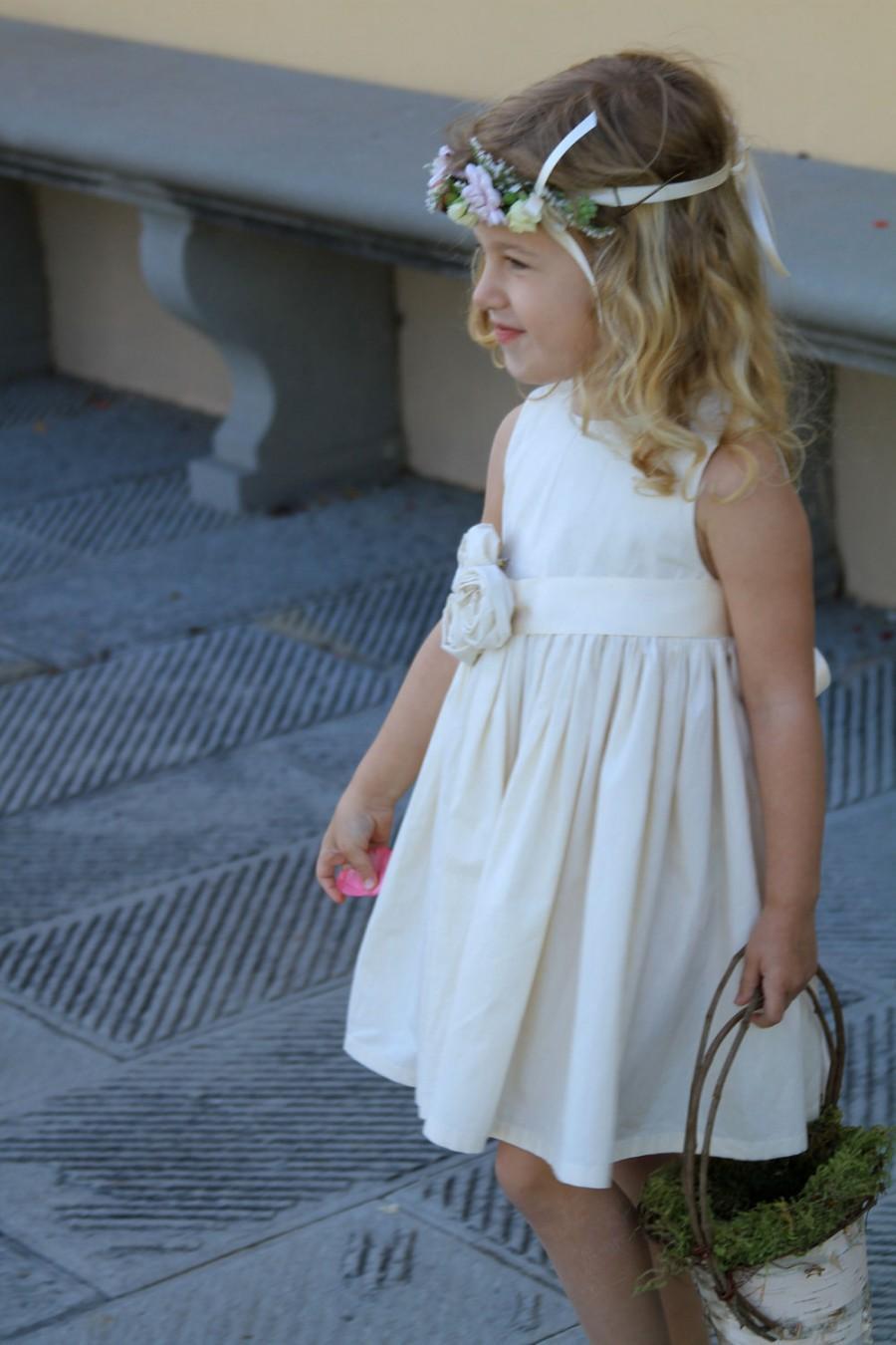 Wedding - Rustic flower girl dress, country flower girl dress, beach flower girl dress, cotton flower girl dress